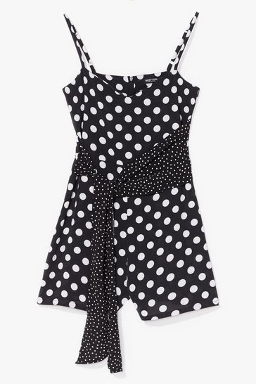 Black Spot the Difference Polka Dot Tie Romper