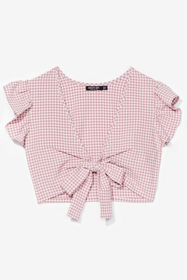 Pink GINGHAM TIE FRONT SHORT SLEEVE TOP CO ORD
