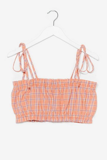 Pink Plaid Your Cards Right Tie Crop Top