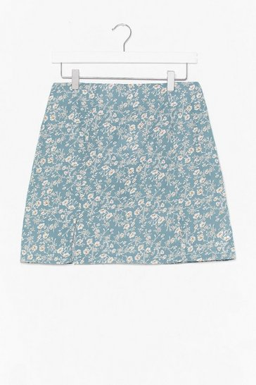 Sage FLORAL SIDE SPLIT MINI SKIRT