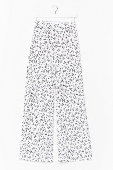 White Play the Field Floral Wide-Leg Pants