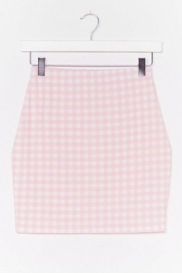 Pink Short and Sweet Gingham Mini Skirt