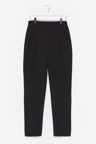 Black She's the Boss High-Waisted Tapered Pants