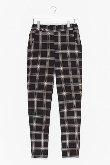 Black Square We Belong High-Waisted Check Pants