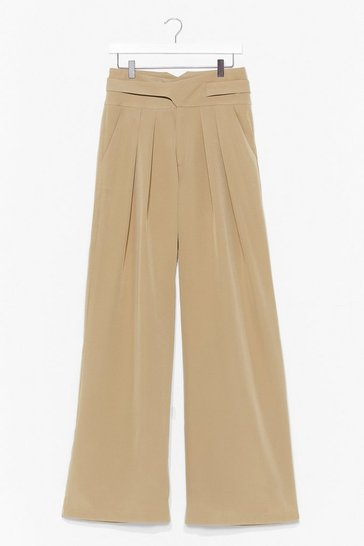 Beige Womens World Wide Leg Suit Pants
