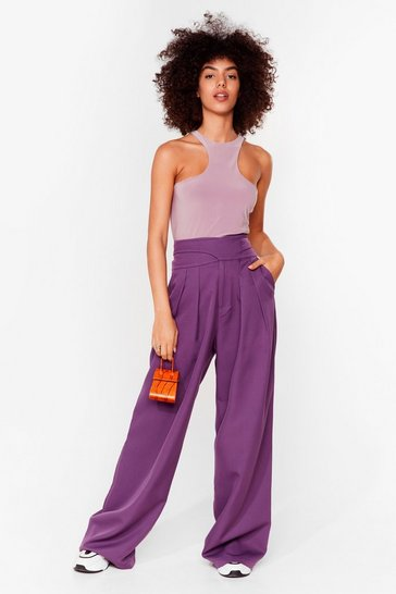 Purple Womens World Wide Leg Suit Pants