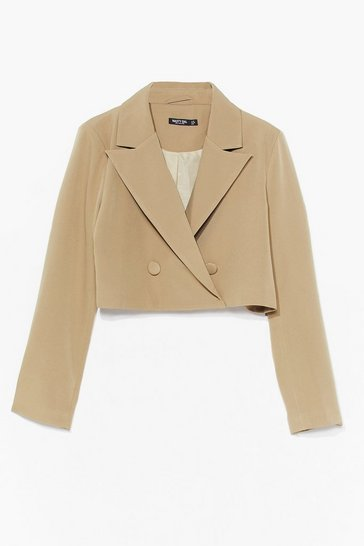 Beige Woman's World Cropped Blazer