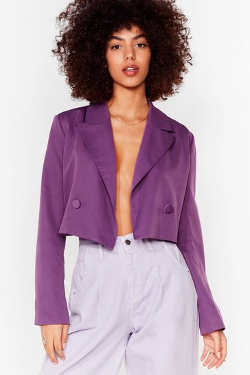 Purple Womens World Cropped Blazer