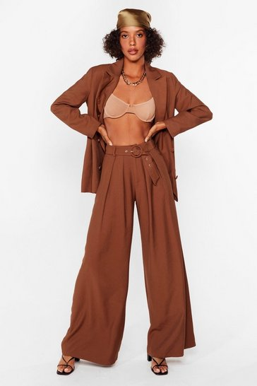 Pantalon large ceinturé Who Run The World, Brown