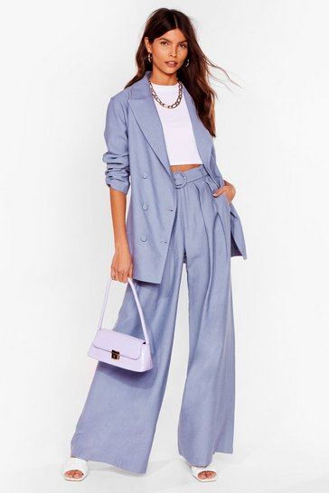 Denim-blue Business as Usual Wide-Leg Belted Pants