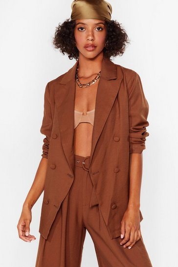 Brown Business as Usual Double Breasted Blazer