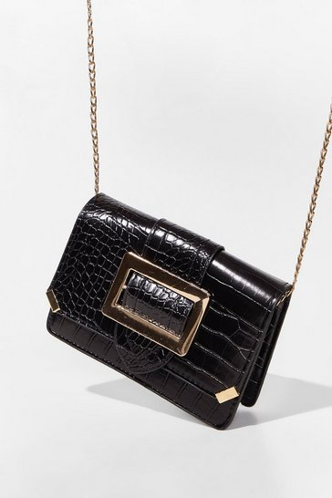 Black WANT Buckle the System Croc Crossbody Bag