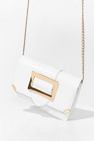 White WANT Buckle the System Croc Crossbody Bag