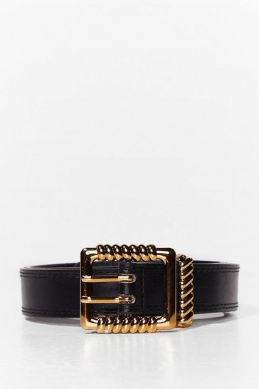 Black Bump in the Road Square Buckle Belt