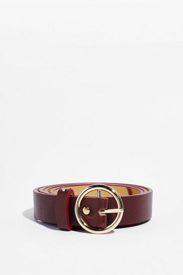 Burgundy We're Circle On It Faux Leather Belt