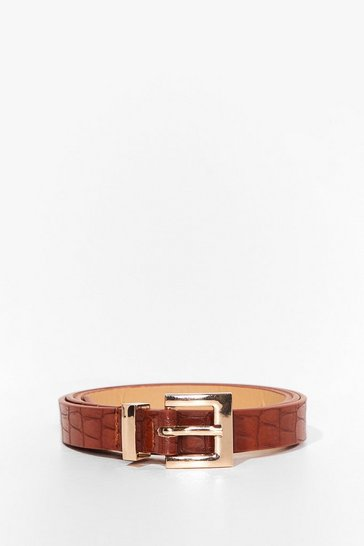 Tan Croc It to 'Em Slim Faux Leather Belt