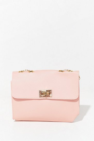 Pink WANT Hold Your Own Faux Leather Crossbody Bag