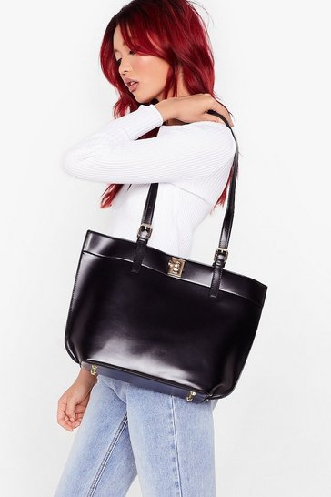 Black WANT Tote-ally Over It Faux Leather Bag