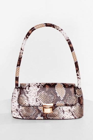 Natural Snaking the Move Faux Leather Shoulder Bag