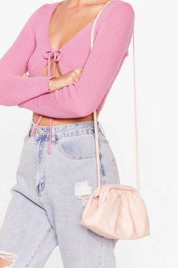 Pink Shake It Slouch Faux Leather Crossbody Bag