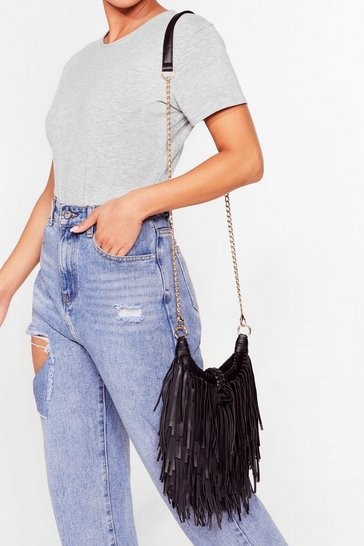 Black WANT You're Making Me Fringe Crossbody Bag