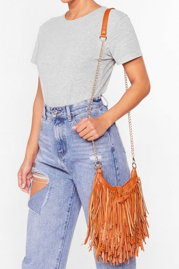 Tan WANT You're Making Me Fringe Crossbody Bag