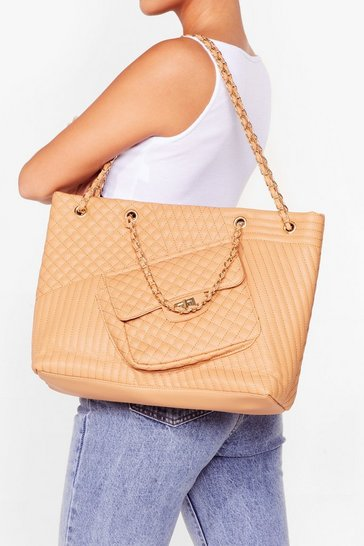 Beige WANT Can't Quilt You Faux Leather Bag