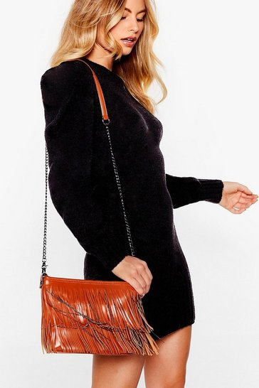 Tan WANT For the Fringe of It Crossbody Bag