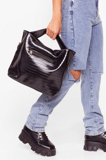 Black WANT Love on Croc Faux Leather Tote Bag