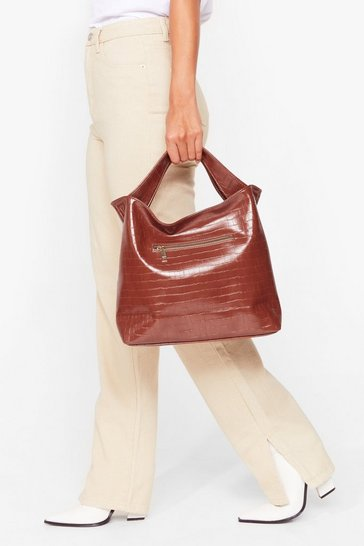 Brown WANT Love on Croc Faux Leather Tote Bag