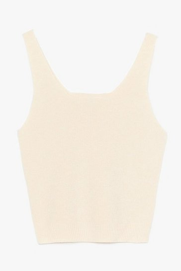 Knitted Lounge Crop Top, Cream