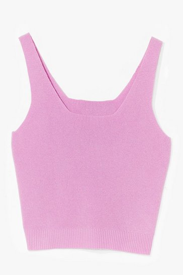 Pink Time for You Knitted Lounge Crop Top