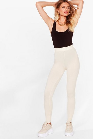 Cream Knit's That Time Again High-Waisted Joggers