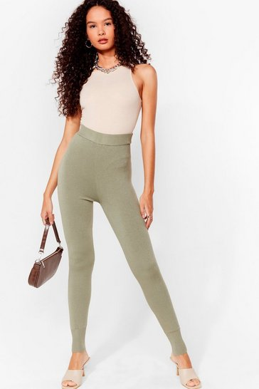 Khaki Knit's That Time Again High-Waisted Joggers