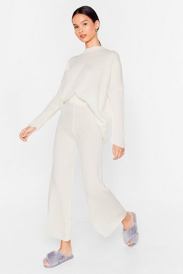 Ecru Ribbed Jumper and Loose Trousers Lounge Set