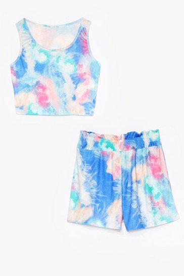Get Behind the Groove Tie Dye Crop Top and Shorts Set, Blue