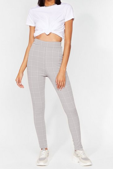 Grey Check It Over High-Waisted Trousers
