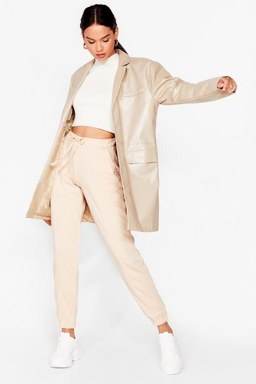 Beige Run the Show High-Waisted Joggers