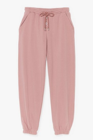 Mauve Button My Way High-Waisted Cuffed Joggers