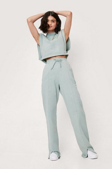 Sage Seam Detail Crop Top and Wide Leg Joggers Set