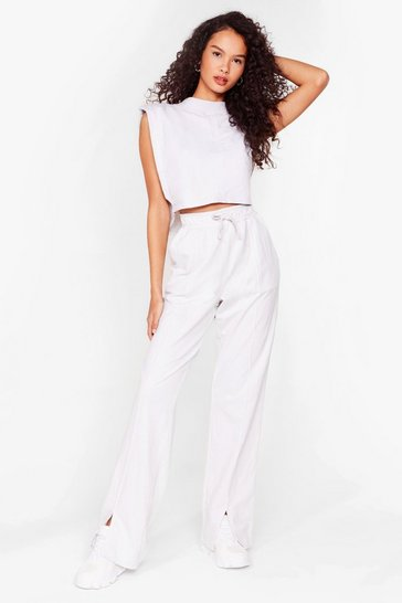 Beige Tee You Later Crop Top and Wide-Leg Joggers Set