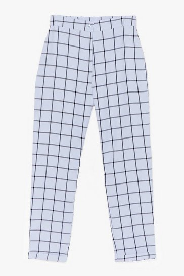 Blue Pick Up the Check High-Waisted Tapered Pants