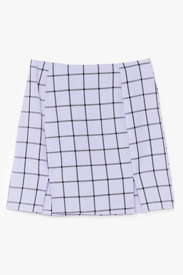 Blue Square Your Thoughts Check Mini Skirt