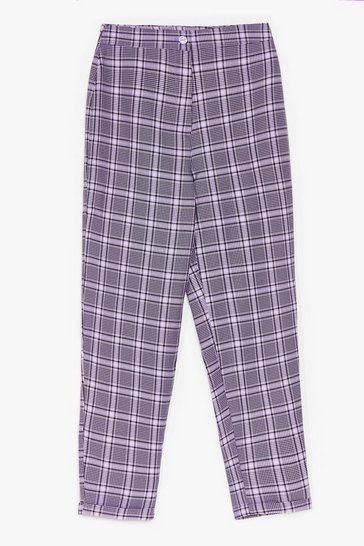 Purple MONO CHECK TAPERED TROUSERS
