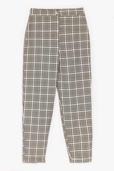 Stone MONO CHECK TAPERED TROUSERS