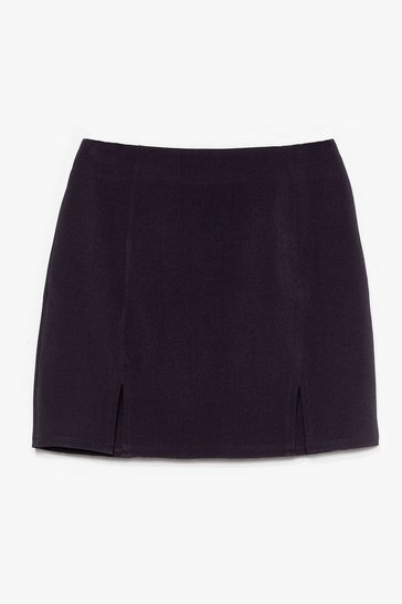 Black Double Slit High Waisted Mini Skirt