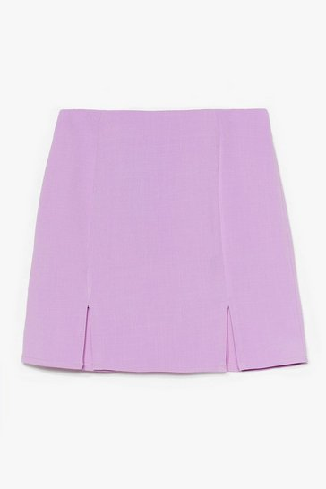 Lilac What's Slit Gonna Be High-Waisted Mini Skirt