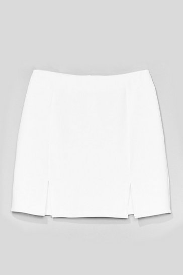 White What's Slit Gonna Be High-Waisted Mini Skirt