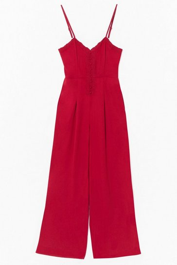 Berry embroidered strappy jumpsuit