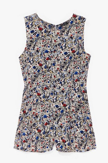 White Grow Lighting Floral Relaxed Playsuit